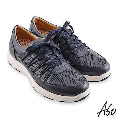 A.S.O機能休閒 超能耐II代沖孔透氣綁帶休閒鞋-深灰