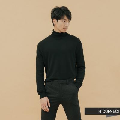 H:CONNECT 韓國品牌 男裝-純色高領針織上衣-黑(快)