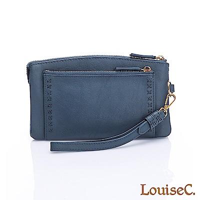LouiseC.清新自然小巧多隔層牛皮手拿包-藍色HGSB710531-09