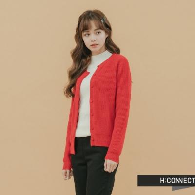 H:CONNECT 韓國品牌 女裝 - 羅紋排扣針織上衣-紅