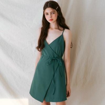AIR SPACE LADY 典雅細肩交叉綁帶洋裝(綠)