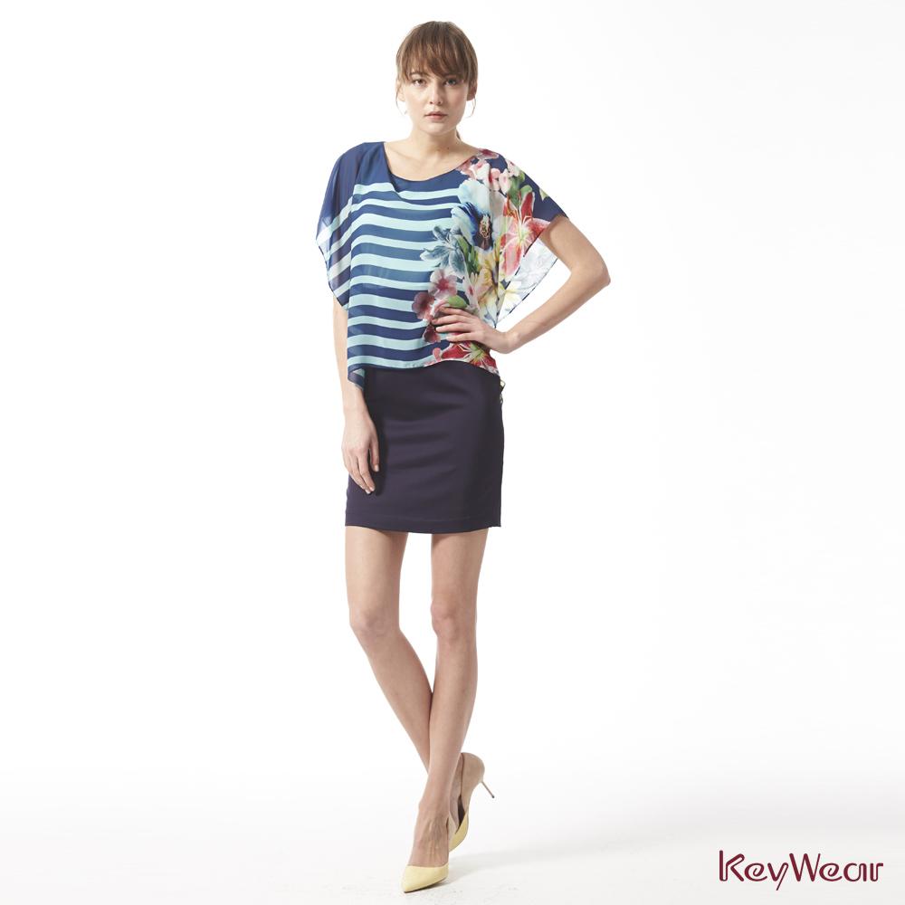 KeyWear奇威名品    仕女穿搭緞面雪紡垂袖洋裝-綜合色
