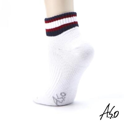 A.S.O長效抑菌系列-襪口條紋短襪-白色
