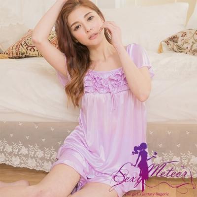 睡衣 全尺碼 冰絲荷葉邊蝶結短袖二件式睡衣組(浪漫淺紫) Sexy Meteor
