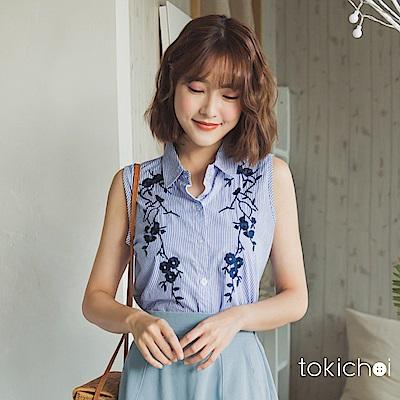 東京著衣 清新條紋刺繡上衣-S.M(共一色)