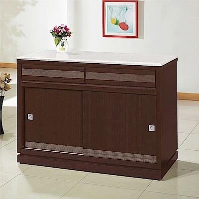 綠活居 帕迪時尚4尺雲紋石面推門餐櫃/收納櫃-121x52x86.5cm免組