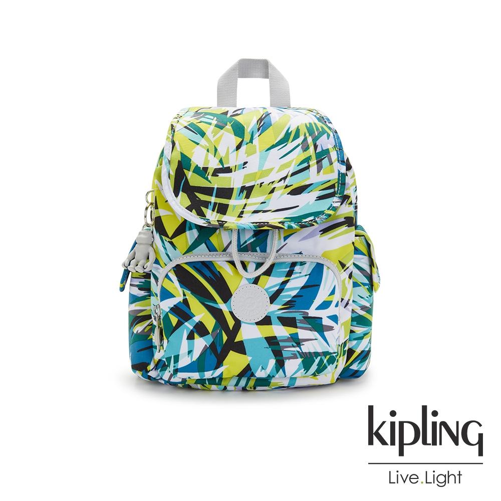 Kipling 手繪棕櫚樹印花拉鍊掀蓋後背包-CITY PACK MINI