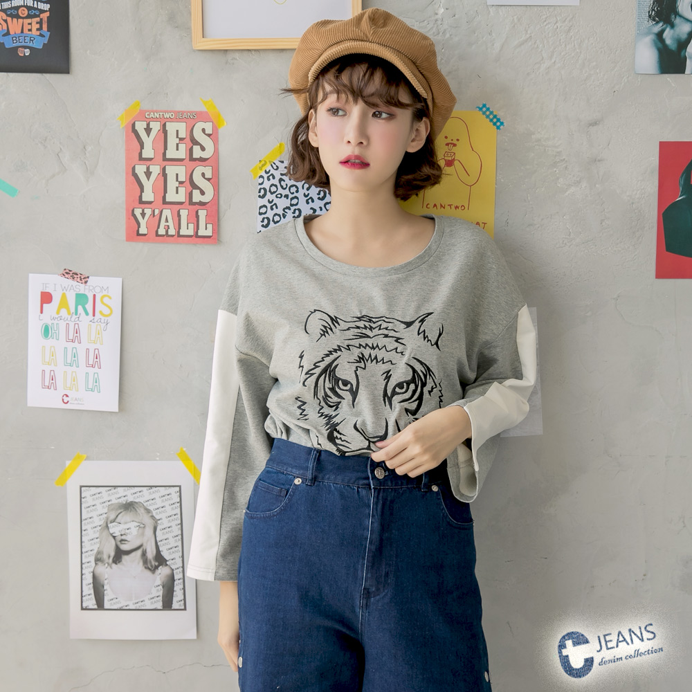 CANTWO JEANS老虎圖騰繡花配色T恤-共三色