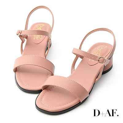D+AF 韓國同步.一字繫踝橢圓跟涼鞋*粉