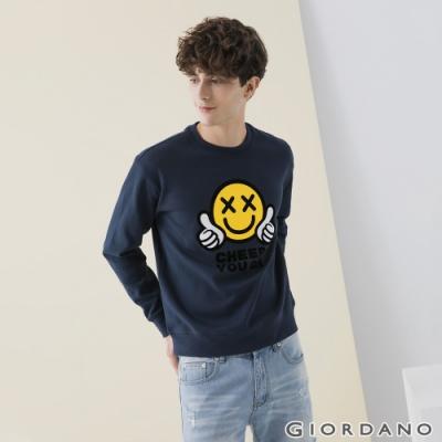 GIORDANO 男裝CHEER YOU ON大學T恤 - 04 新海軍藍