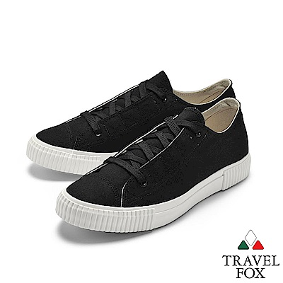 TRAVEL FOX(男)  當下 硬底子復刻休閒帆布鞋 - 永恆黑