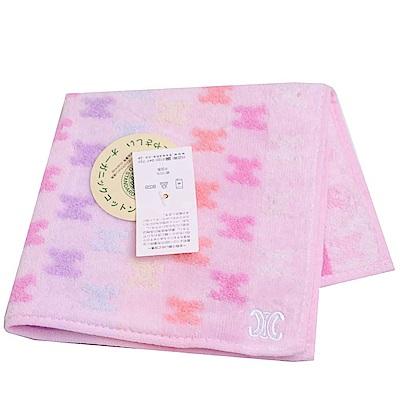CELINE 繽紛馬卡龍色系圖騰LOGO小方巾(粉紅系)