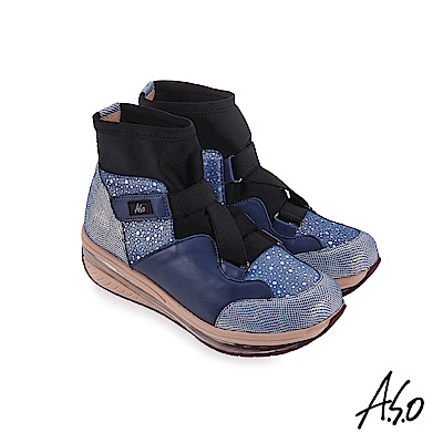 A.S.O 超能力氣墊 彈性布拼接牛皮休閒鞋 藍