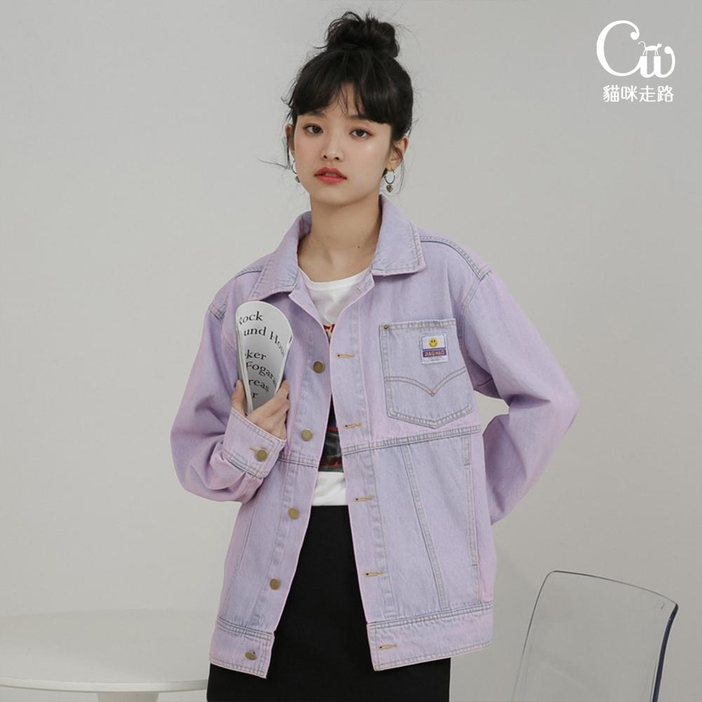 [CW.貓咪走路]韓版復古潮流貼布紫色牛仔外套(KDC-10977) (紫色)
