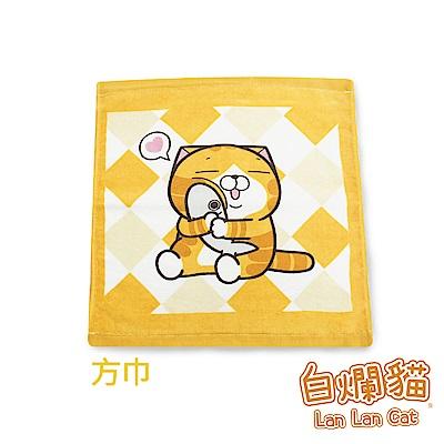 白爛貓Lan Lan Cat 臭跩貓滿版印花方巾(菱格-超萌幸福)