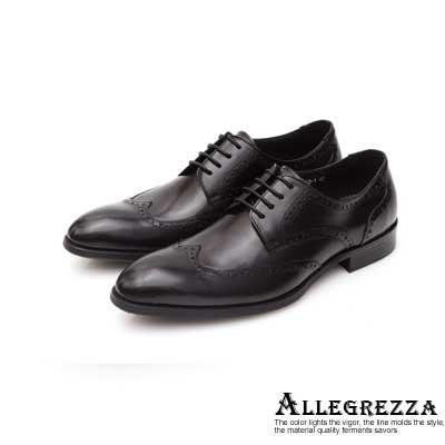 ALLEGREZZA真皮男鞋-時尚單品-藝紋雕花穿孔德比鞋  黑色