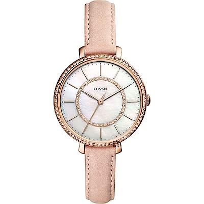 FOSSIL Jacqueline 愛在晶鑽時尚女錶-珍珠貝x粉/36mm