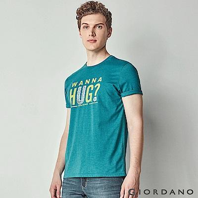 GIORDANO男裝Nature系列印花短袖T恤-13賽絡紡綠