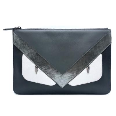 FENDI Bag Bugs拼色扁式拉鍊手拿包(7N0078-黑/灰)