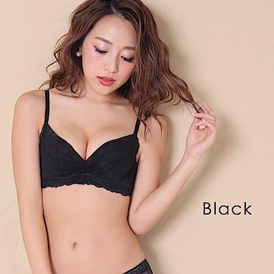 aimerfeel 高脇邊蕾絲薄紗內衣-黑色-667213-BL