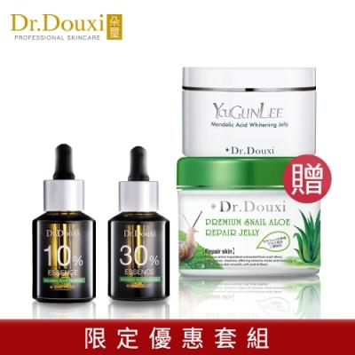 Dr.Douxi朵璽 杏仁酸精華液10% 30ml+30%30ml 贈杏仁晶凍250g+蝸牛蘆薈凍膜500g