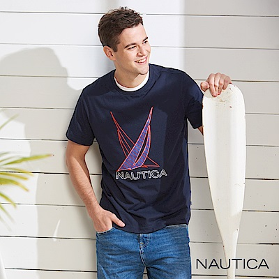 Nautica 夏日雙LOGO圖騰短袖T恤-深藍