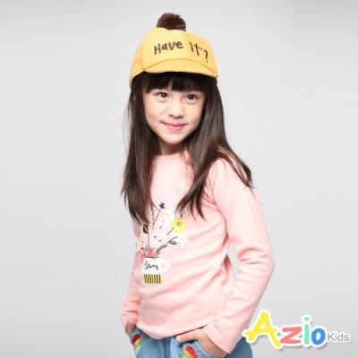 Azio Kids 女童 上衣 花朵小品棉質長袖上衣(粉 )