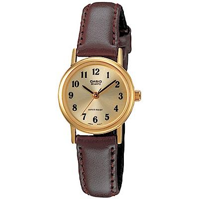 CASIO 精緻小巧婉約氣質女神皮帶腕錶(LTP-1095Q-9B1)咖啡x金/25mm