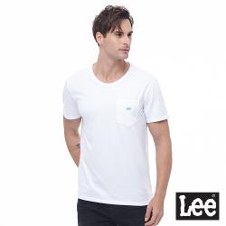 Lee 短T 口袋Logo繡花 圓領T 男款-白色