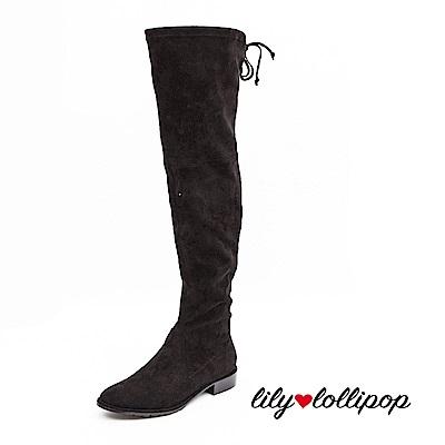 Lilylollipop 黑色高級彈力絨布膝上靴