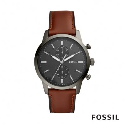 FOSSIL TOWNSMAN 黑灰錶面褐色計時皮革男錶 44mm FS5522
