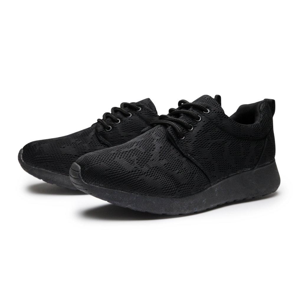 BuyGlasses 網布彈力輕量男慢跑鞋-全黑