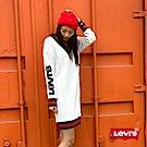 Levis 女款 長袖洋裝 亮片LOGO 紅藍金蔥條紋