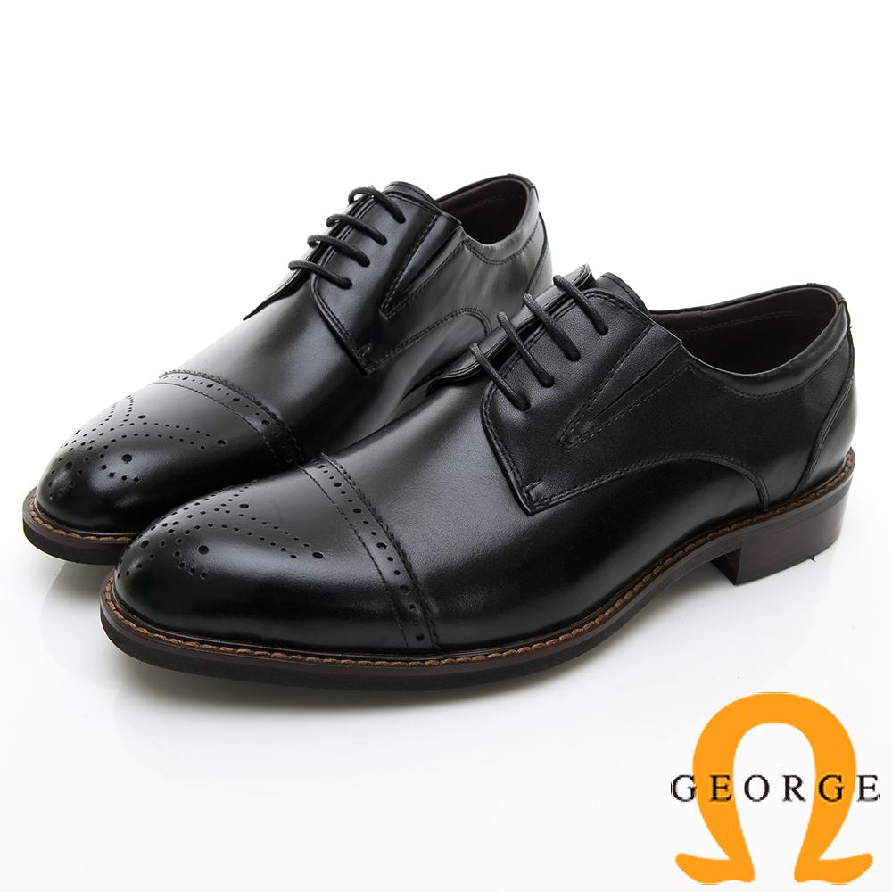 【GEORGE 喬治皮鞋】商務時尚 圓頭立體圓頭紳士皮鞋-黑色