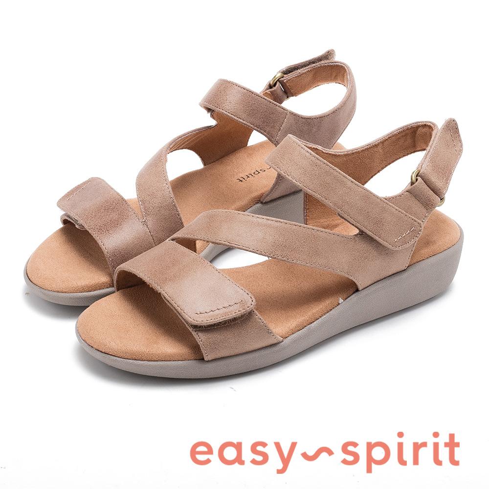 Easy Spirit seKAILYNE2-A 麂皮交叉帶後增高涼鞋-棕色