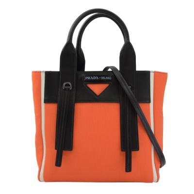 PRADA標籤LOGO三角造裝飾牛皮兩用手提包(橘)