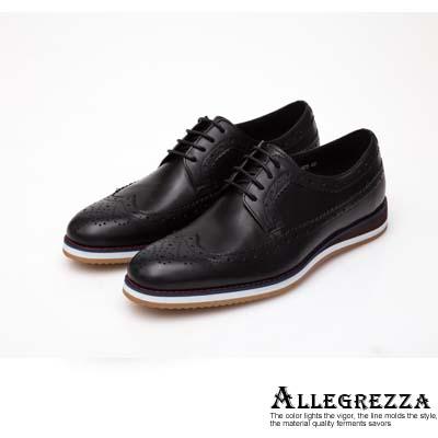 ALLEGREZZA-真皮男鞋-休閒舒適-真皮雕花德比鞋  黑色