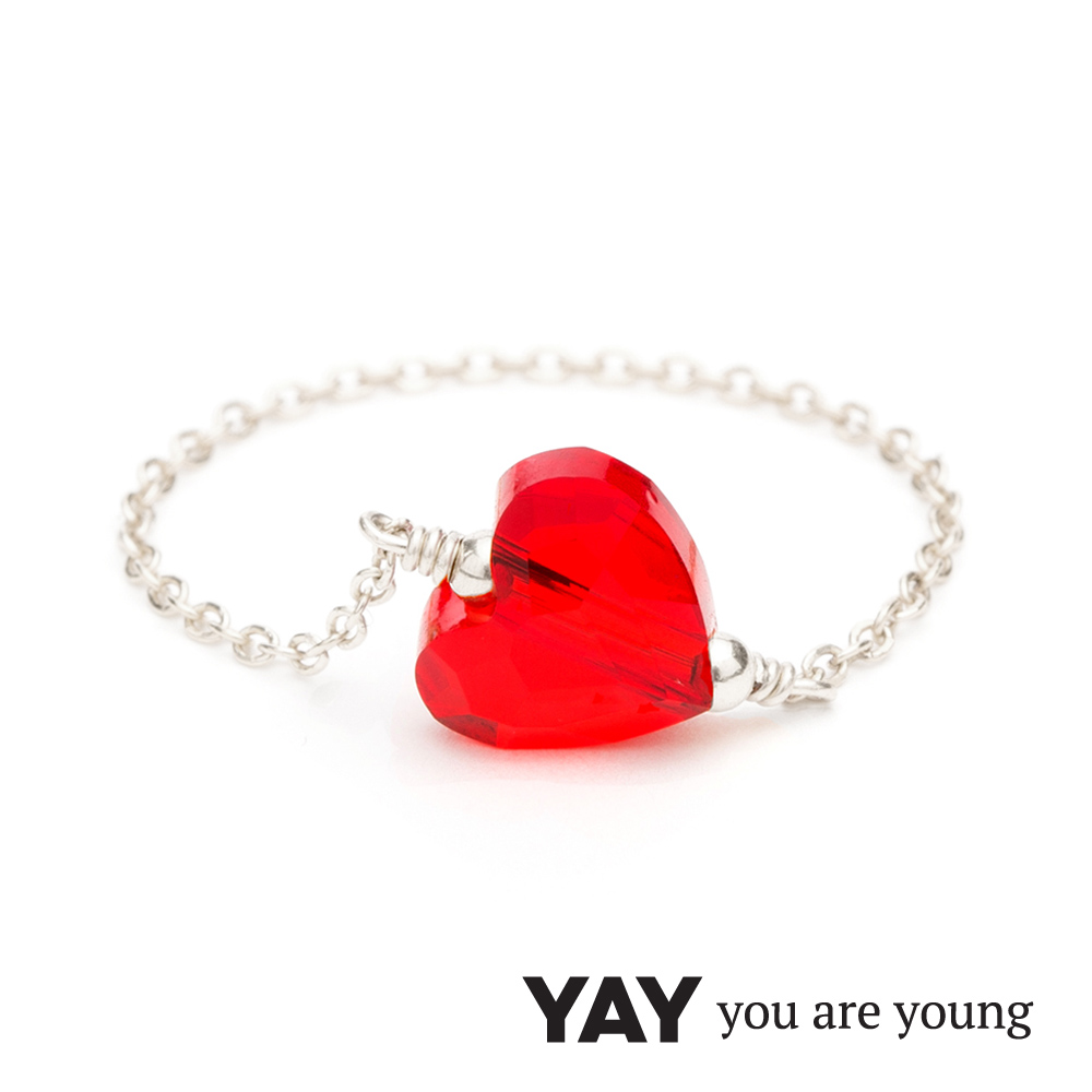 YAY You Are Young 法國品牌 Chateau 紅水晶心形鍊戒 銀色