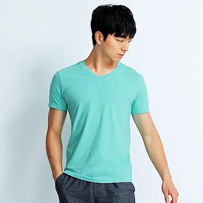101原創 經典水洗原色V領素T恤-男女適穿-碧綠