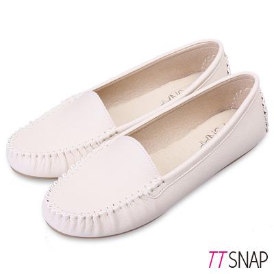 TTSNAP莫卡辛-MIT素面質感真皮豆豆鞋 米