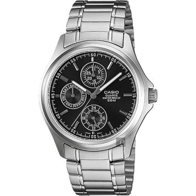 CASIO 卡西歐 經典指針日曆手錶-黑x銀(MTP-1246D-1A)