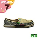 SANUK 女款US7 趣味塗鴉懶人鞋(卡其灰)