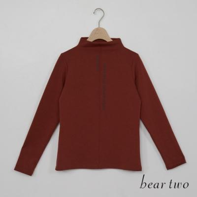 bear two- 素色文字半高領上衣 - 紅