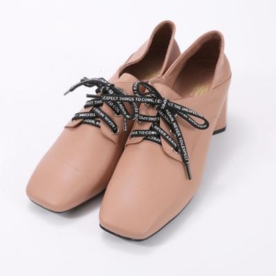 SM-復古方頭綁鞋帶羊皮淑女鞋