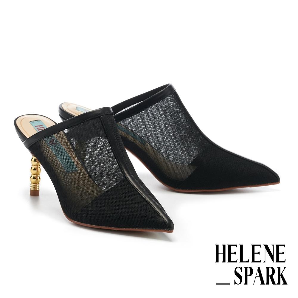 穆勒鞋 HELENE SPARK 性感摩登透膚細紗網尖頭高跟穆勒拖鞋-黑