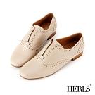 HERLS 經典學院 內真皮沖孔無鞋帶圓頭牛津鞋-米色