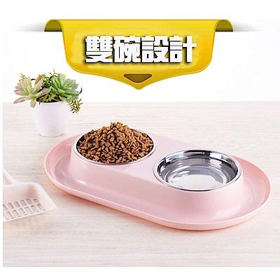 寵愛有家-寵物防溢灑不鏽鋼食用雙碗(寵物用碗)