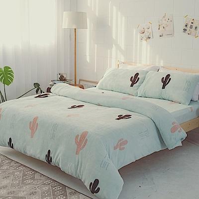 AmissU 北歐送暖法蘭絨單人床包枕套2件組 秋日仙人掌