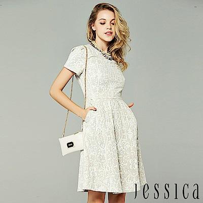 JESSICA - 復古雕花設計修身洋裝(灰)