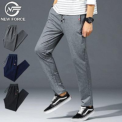 NEW FORCE 抽繩棉質直筒休閒褲-灰色